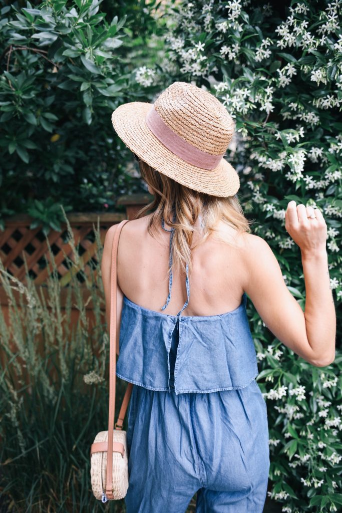 Sole Society Straw Hat and Chambray Halter Top Jumpsuit