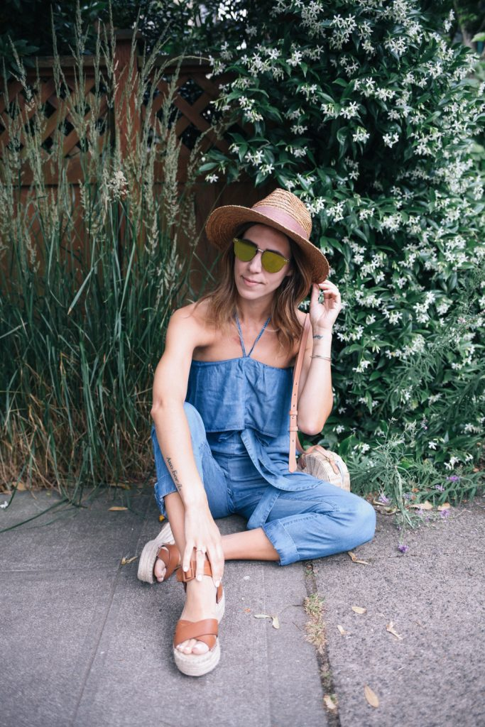 Chambray Halter Top Jumpsuit and Sole Society Aubrey Sandals