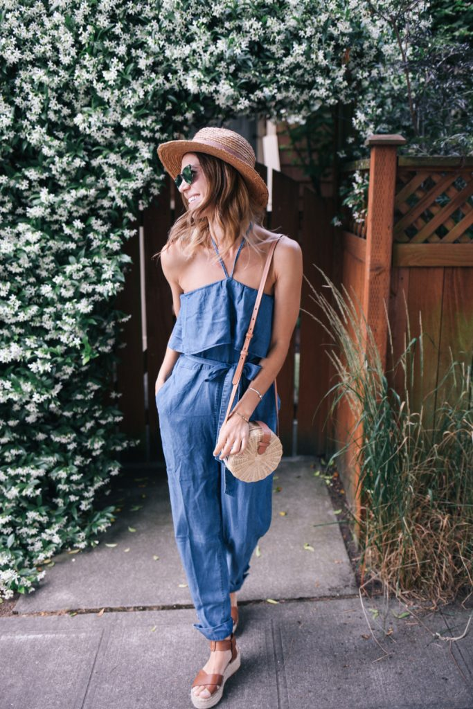 Blogger Mary Krosnjar and Chambray Halter Top Jumpsuit