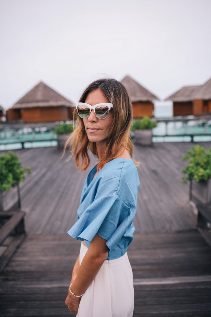 Chambray Flutter Sleeve Crop Top and Retro Style Mirrored Sunglasses