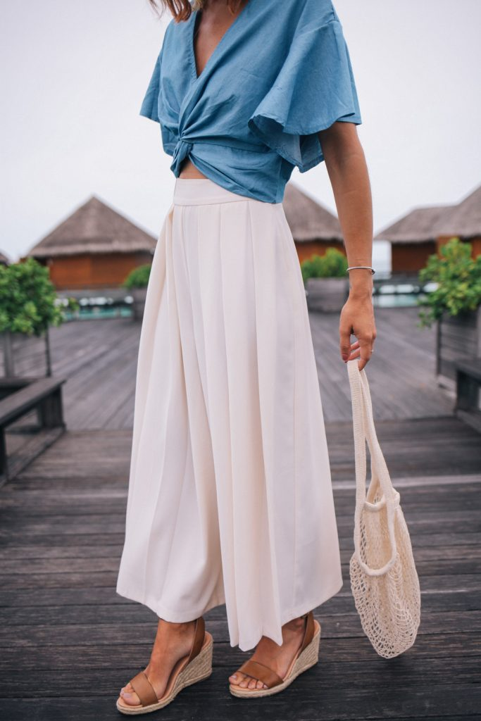 ASOS Wide Leg Pleated Pant styled with a chambray crop top