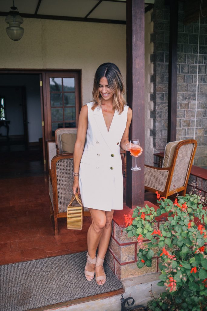 Blogger Mary Krosnjar wearing Topshop Double Breasted Blazer Dress and Jalya Sandals