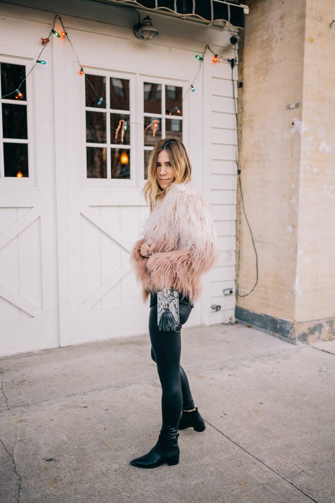 Blogger Mary Krosnjar wearing Cropped Faux Fur Jacket and Faux Leather Leggings