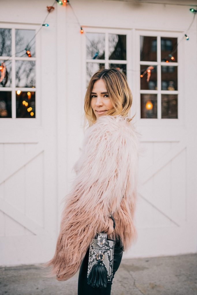 Blogger Mary Krosnjar wearing Cropped Faux Fur Jacket