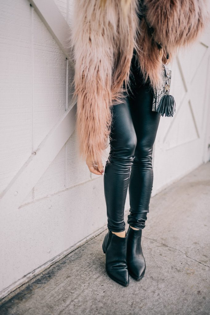 Blogger Mary Krosnjar wearing Marc Fisher Yale Bootie and Faux Leather Leggings