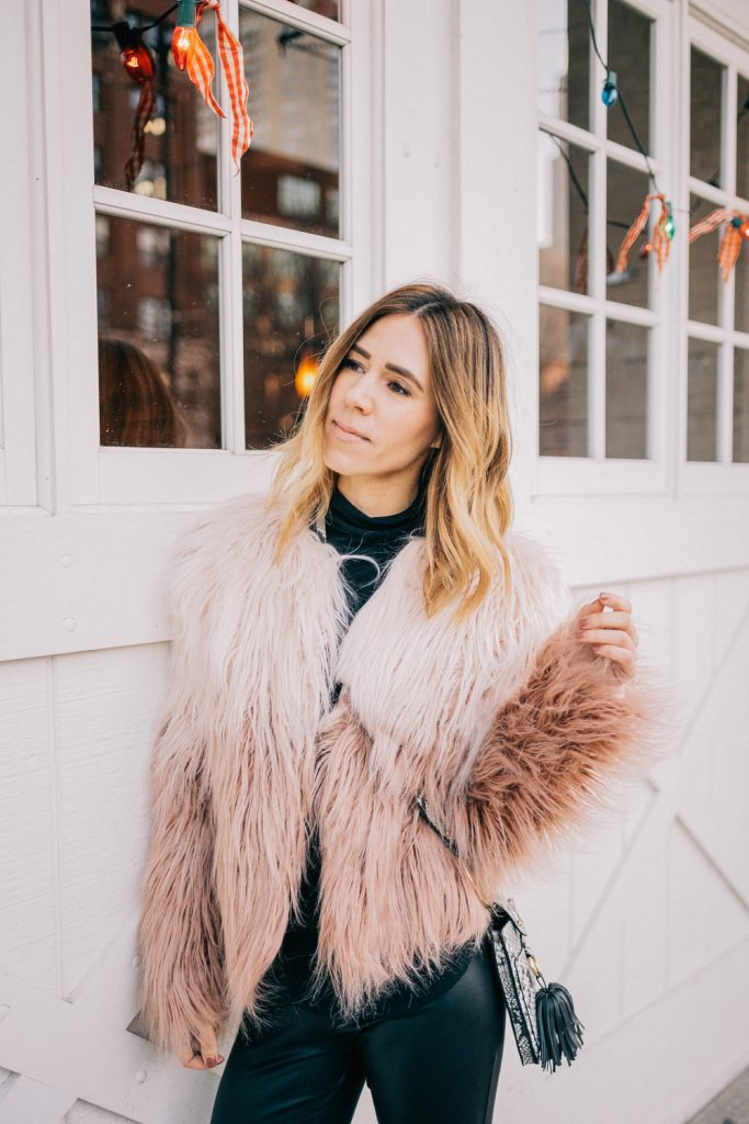 Blogger Mary Krosnjar wearing Cropped Faux Fur Jacket and Asos Faux Leather Leggings