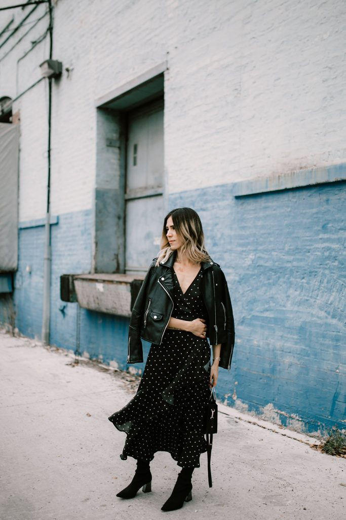Blogger Mary Krosnjar wearing Forever 21 Polka Dot Ruffle Dress and Blank NYC Moto Jacket