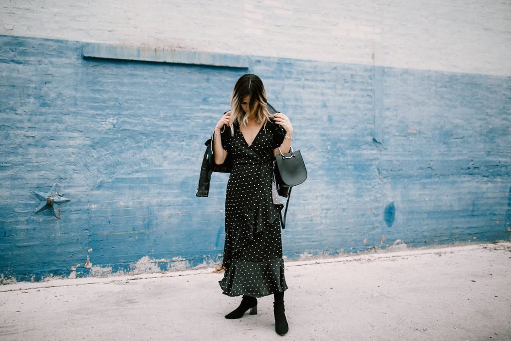 Forever 21 Polka Dot Ruffle Dress and Fabric Style Booties
