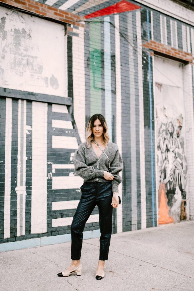 Blogger Mary Krosnjar wearing Fabulous Faux Leather Pants and Sam Edelman Cap Toe Flats