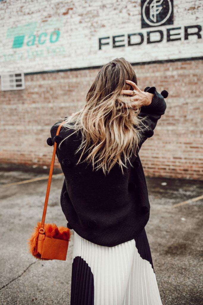 Short Hair Bayalage and Rachel Parcell Black Pom Pom Sweater