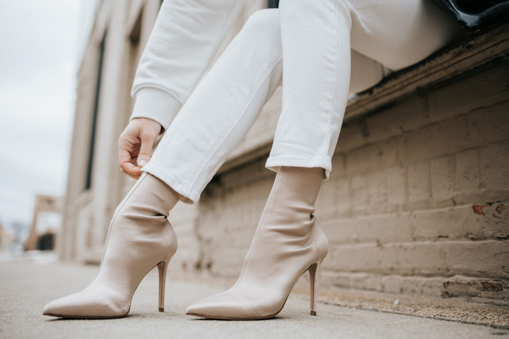 Blogger Mary Krosnjar wearing Satin Tony Bianco Booties