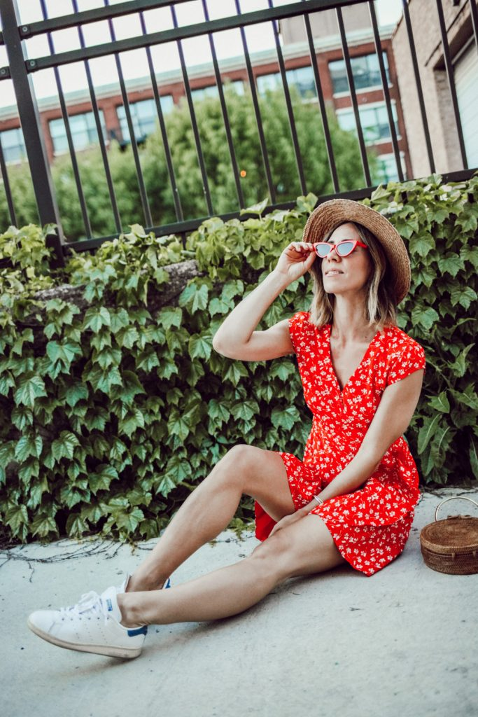 Blogger Mary Krosnjar wearing Floral Wrap Dress and Sole Society Straw Hat