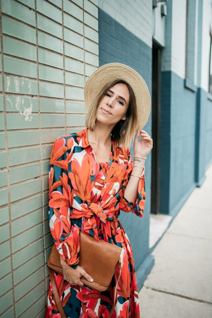 Blogger Mary Krosnjar wearing Who What Wear Target Collection and Sole Society Straw Hat