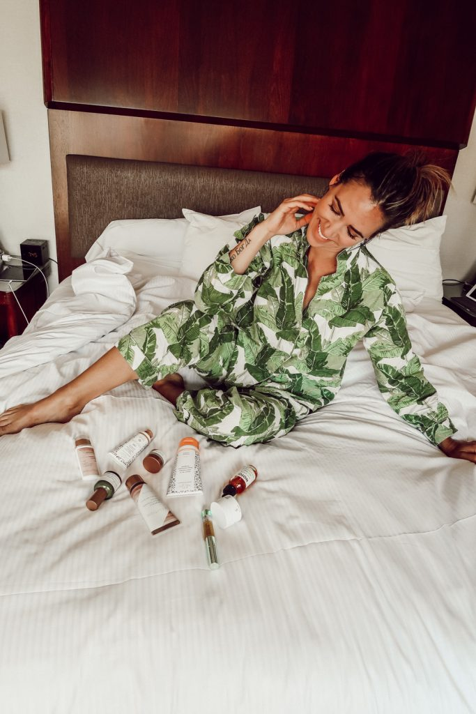 Blogger Mary Krosnjar sharing Clean Beauty Products and Palm Leaf Pajamas