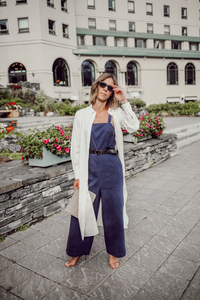 Blogger Mary Krosnjar wearing Long Sleeve Button-Up Tunic from Who What Wear Collection