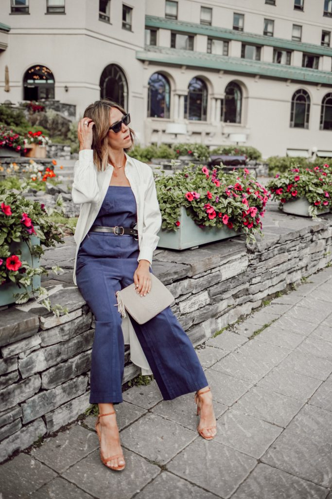 Blogger Mary Krosnjar wearing Who What Wear Jumpsuit and Long Sleeve Button-Up Tunic