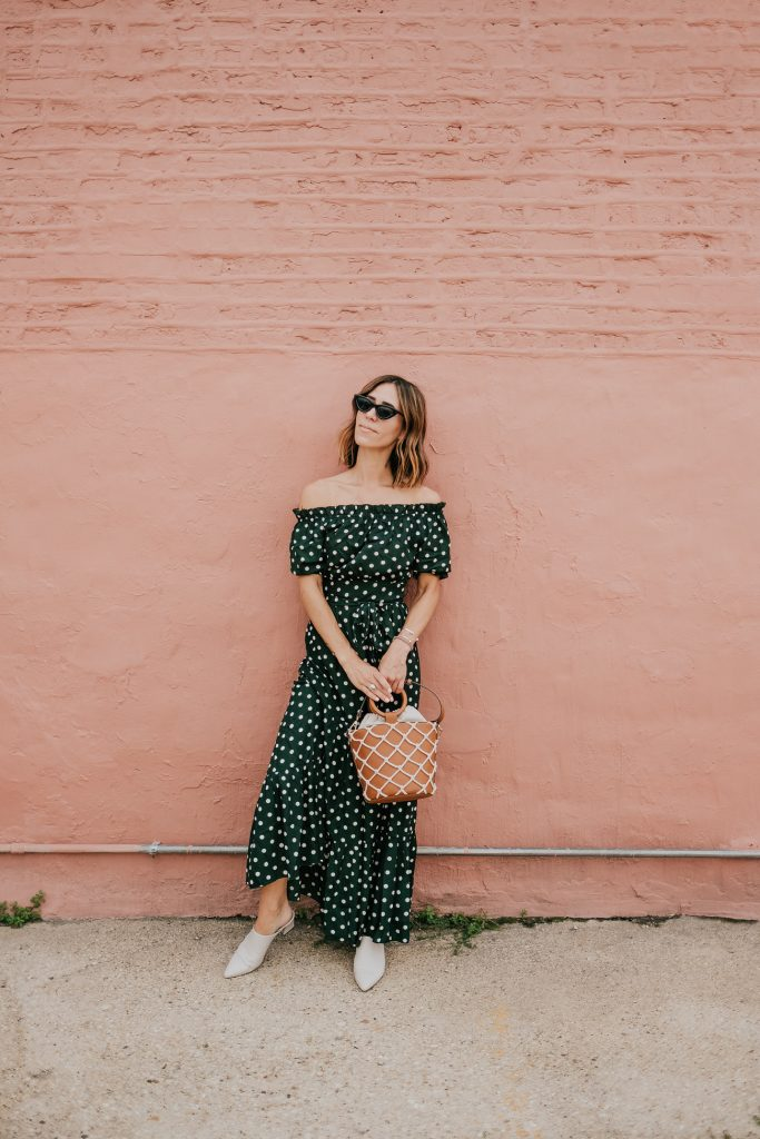 Blogger Mary Krosnjar wearing Polka Dot Fall Maxi Dress and AGL Mules