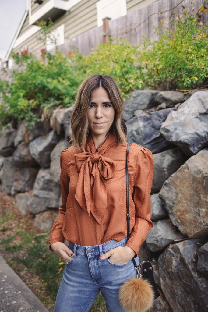 Blogger Mary Krosnjar wearing Tie Neck Blouse from Ann Taylor