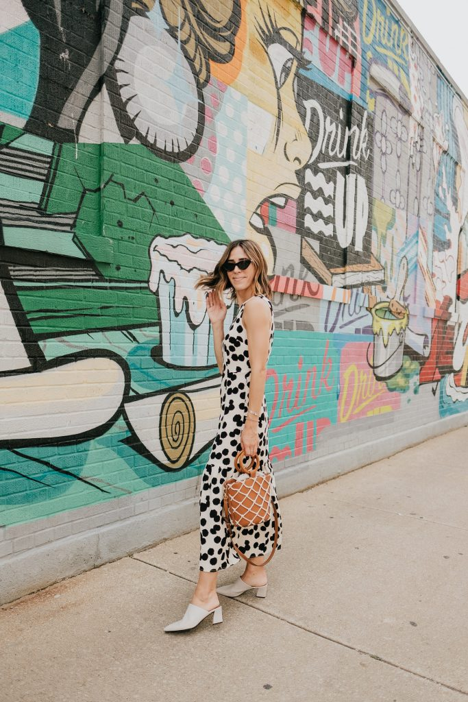 Blogger Mary Krosnjar wearing Who What Wear Polka Dot Sleeveless Ruffle Dress
