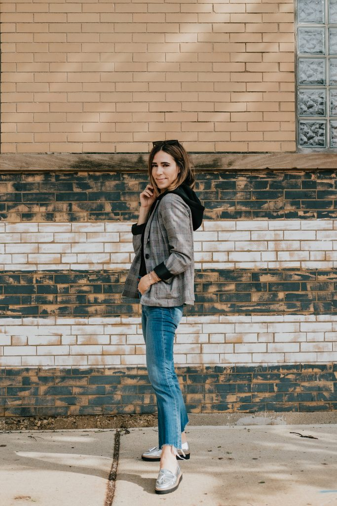 Blogger Mary Krosnjar wearing Madewell Demi Cropped Denim and Women's Plaid Hooded Layered Blazer Jacket