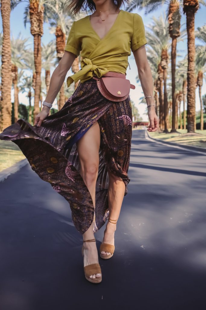 Blogger Mary Krosnjar wearing BA&SH Delva Maxi Skirt and Valentino Cork Heels