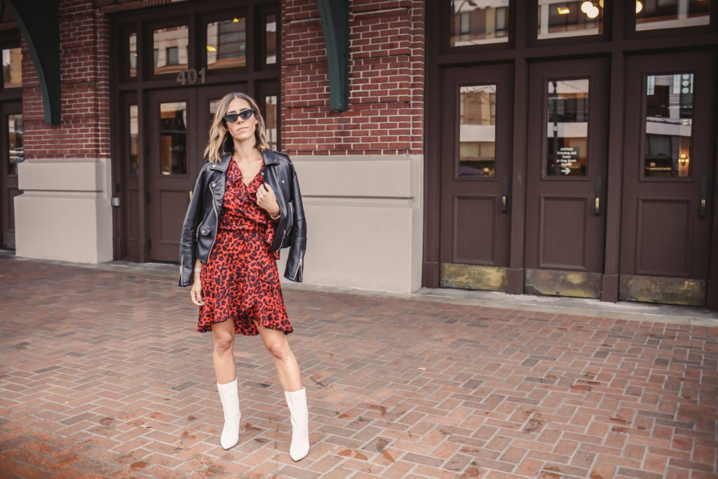 Blogger Mary Krosnjar wearing Leopard Print Ruffle Trim Wrap Dress and White Mid Calf Boot