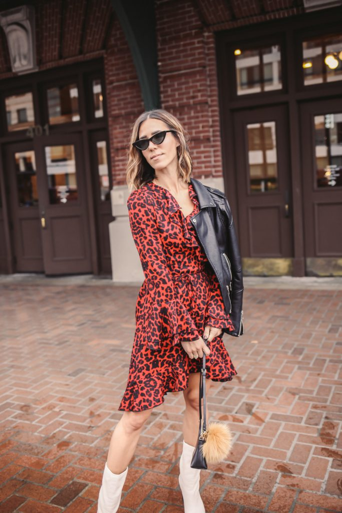 Blogger Mary Krosnjar wearing Leopard Print Ruffle Trim Wrap Dress and Blank NYC Denim Jacket