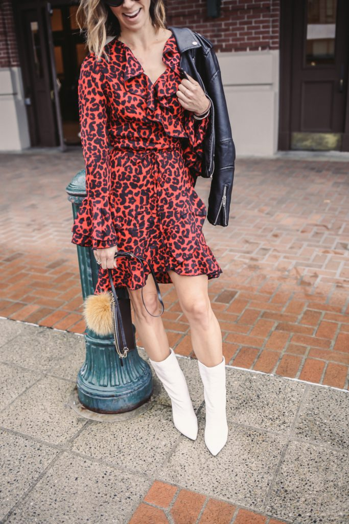 Blogger Mary Krosnjar wearing Leopard Print Ruffle Trim Wrap Dress and White Mid Calf Boots