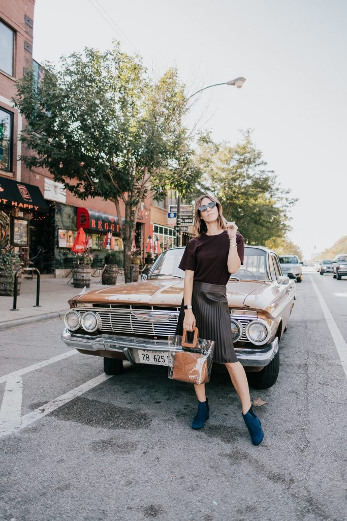 Blogger Mary Krosnjar wearing Brown Pleated Midi Skirt and Naturalizer Navy Suede Boots