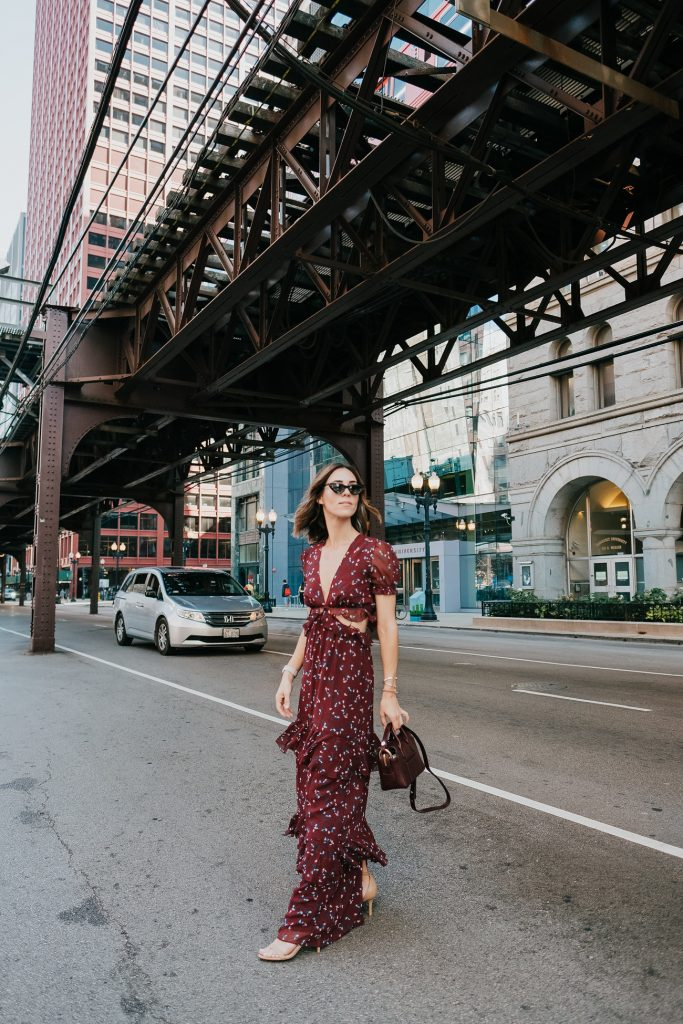 Blogger Mary Krosnjar wearing WAYF Laviana Maxi Dress and J.Crew Mini Harper Tote