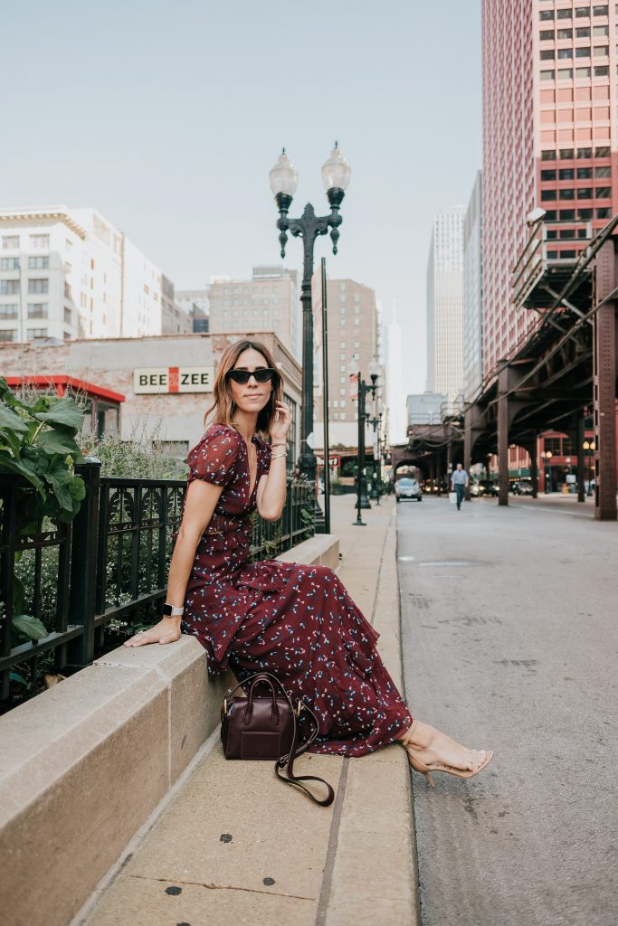 Blogger Mary Krosnjar wearing J.Crew Mini Harper Tote with WAYF Laviana Maxi Dress