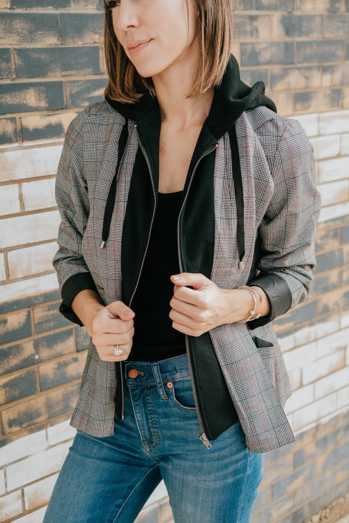 Blogger Mary Krosnjar wearing Target Plaid Hooded Layered Blazer Jacket