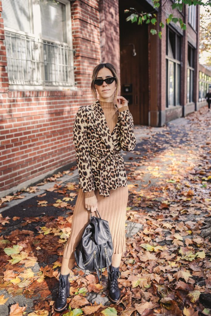 Blogger Mary Krosnjar wearing Ribbed Midi Turtleneck Sweater Dress and Leopard Blazer