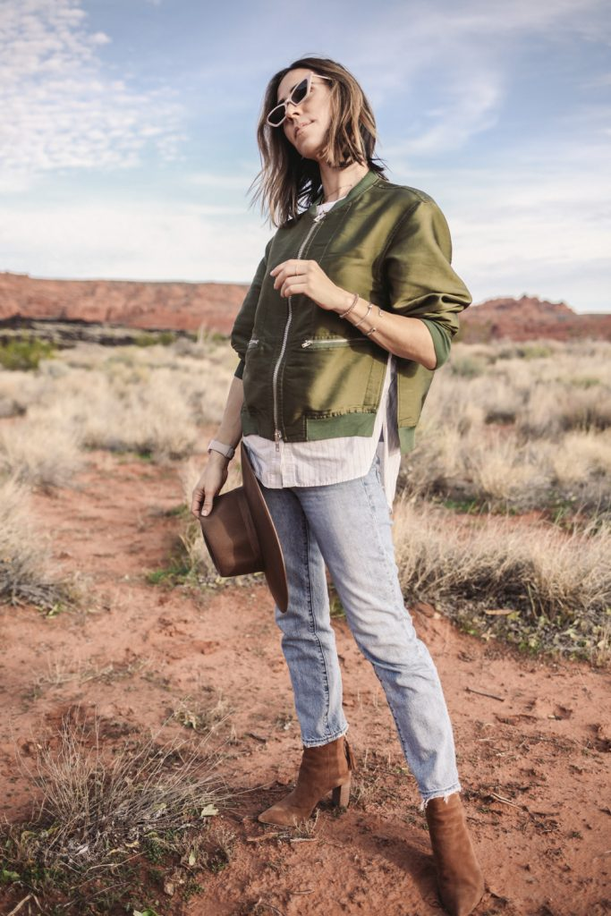 Blogger Mary Krosnjar wearing 3.1 Phillip Lim Bomber Jacket and Mini Cat Eye Sunglasses