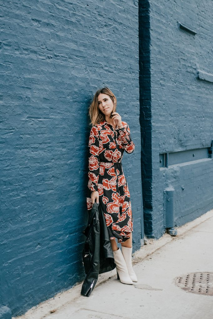 Blogger Mary Krosnjar wearing Target Who What Wear Floral Midi Dress and Dolce Vita Calf Boots