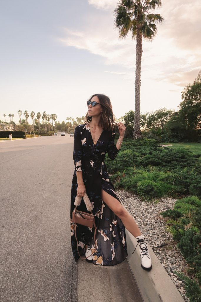 Seattle Blogger Stuart Weitzman Lexy Leather Combat Boot and Mediterranean Floral Wrap Dress