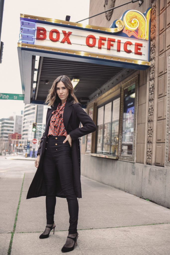 Blogger Sportsanista wearing H&M Coat with Belt and Shein Neck Tie Blouse