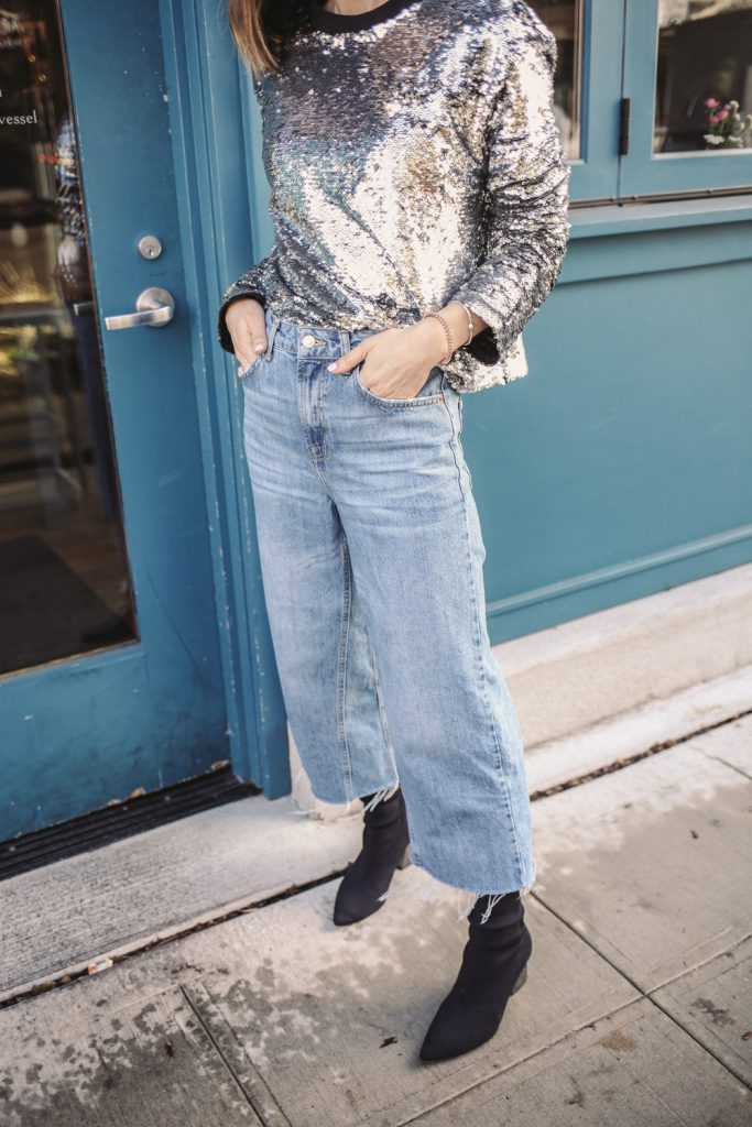 Blogger Something Navy Sequin Sweatshirt and Topshop Crop Wide Leg Jeans