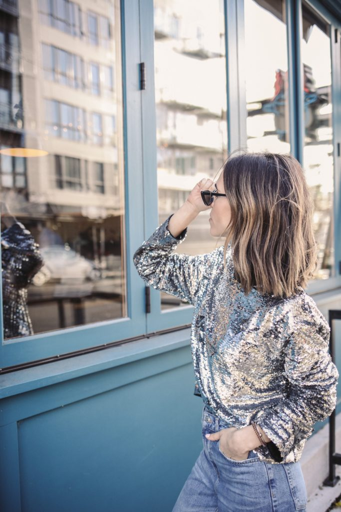 Seattle Fashion Blogger wearing Casual Sequin look for NYE