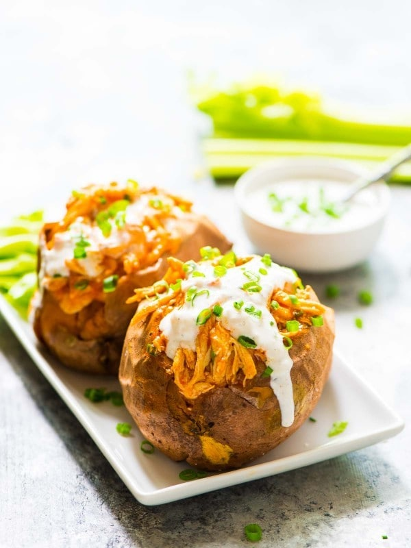 BUFFALO CHICKEN BAKED SWEET POTATO