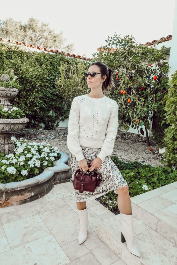 Blogger Sportsanista wearing Women's LC Lauren Conrad Fuzzy Balloon-Sleeve Sweater and H&M Snake Skin Calf Length Skirt