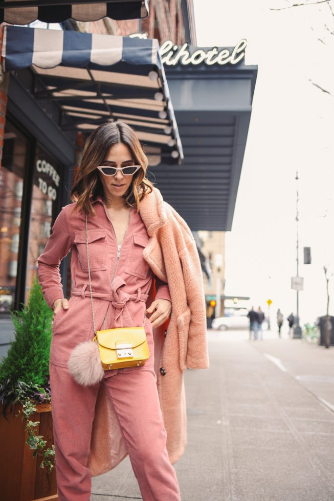 Blogger Sportsanista wearing Topshop Corduroy Boilersuit and Goodnight Macaroons 'Alexus' Pink Lapels Teddy Coat