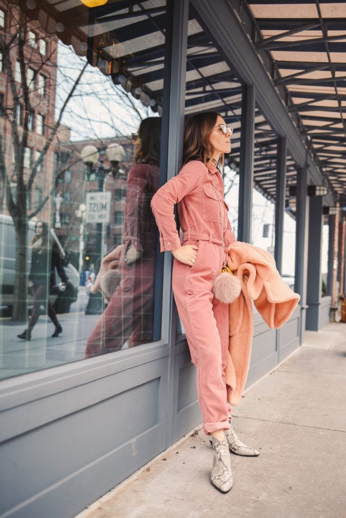 Blogger Sportsanista wearing Nordstrom 'Alexus' Pink Lapels Teddy Coat and Nordstrom Topshop Corduroy Boilersuit