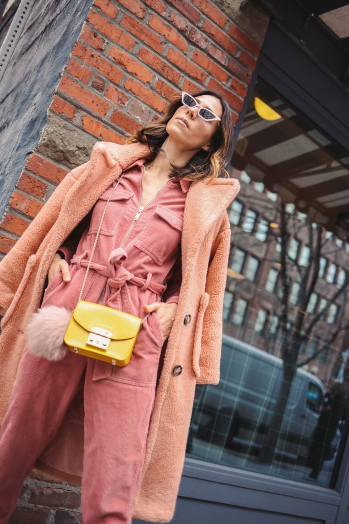 Blogger Sportsanista wearing Nordstrom Topshop Corduroy Boilersuit and Goodnight Macaroons 'Alexus' Pink Lapels Teddy Coat