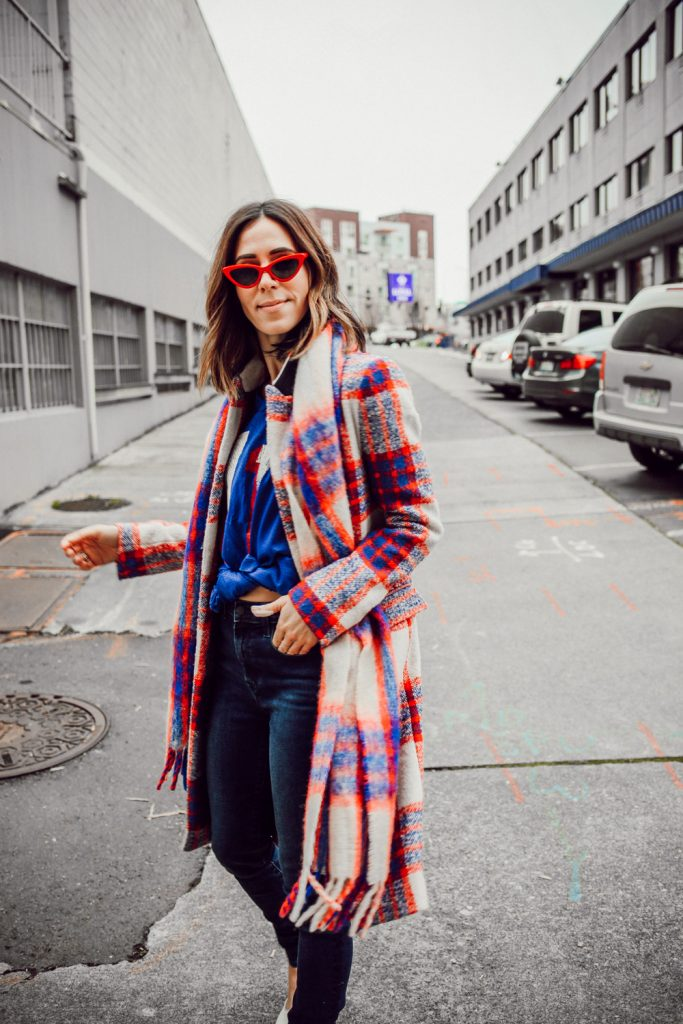 Blogger Sportsanista wearing Plaid Double Breasted Coat, Red Cat Eye Sunglasses and New England Patriots Vintage Jersey