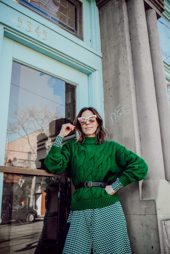 Blogger Sportsanista wearing H&M Cotton Cable Knit Sweater and Adding Color to your winter Wardrobe