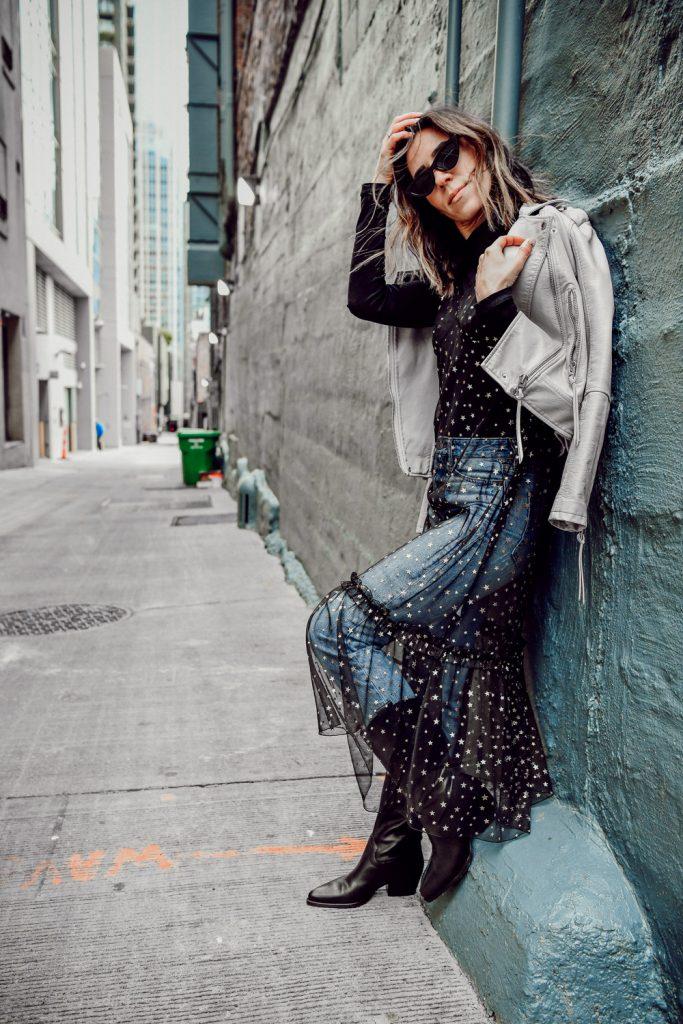 Seattle Fashion Blogger Sportsanista wearing Chelsea28 Glitter Star Sheer Full Slip