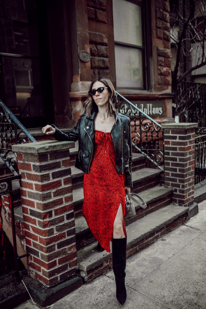 Seattle Fashion Blogger Sportsanista wearing AFRM Midi Dress and Kate Spade Over the Knee Suede Boots