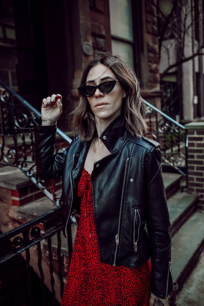 Seattle Fashion Blogger Sportsanista wearing Blank NYC Denim Faux Leather Jacket and AFRM Midi Dress