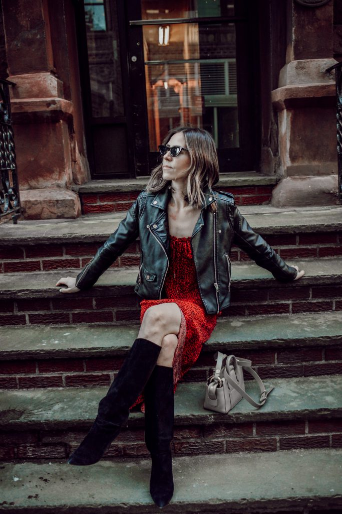 Seattle Fashion Blogger Sportsanista wearing Kate Spade Suede Boots and Blank NYC Denim Faux Leather Jacket